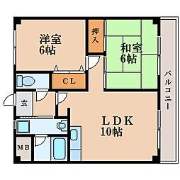滋賀県栗東市北中小路の賃貸マンションの間取り