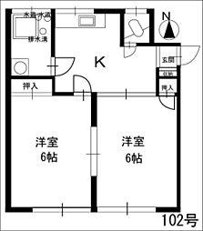 福岡県春日市須玖北6丁目の賃貸アパートの間取り