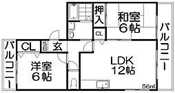 メルベーユ渚[2階]の間取り