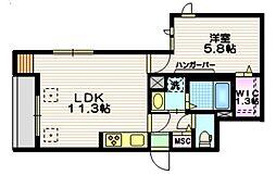 Verisa Kamiyoga 1階1LDKの間取り