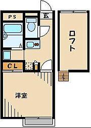 JR川越線 的場駅 徒歩6分の賃貸アパート 2階1Kの間取り