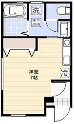 モンスリール 1階ワンルームの間取り