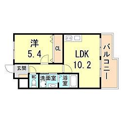 阪急神戸本線 園田駅 徒歩5分の賃貸アパート 1階1LDKの間取り