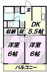 埼玉県所沢市花園2丁目の賃貸アパートの間取り