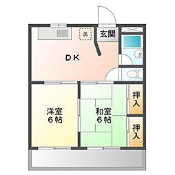 ハイツ柿田[3階]の間取り