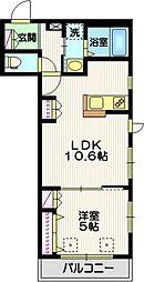 JR中央線 三鷹駅 徒歩26分の賃貸マンション 2階1LDKの間取り