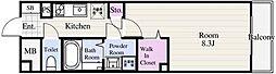 ルージェ東葛西 4階1Kの間取り