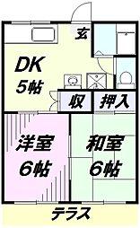 埼玉県所沢市榎町の賃貸アパートの間取り
