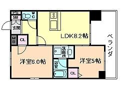 エステムプラザ梅田中崎町IIIツインマークスSR[13階]の間取り
