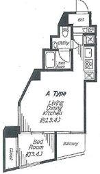 ビバリーホームズ麻布十番 4階1LDKの間取り