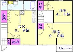 リレント谷塚テラスハウス 1階2LDKの間取り