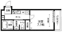 ラシーネ赤塚 2階1Kの間取り