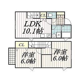 千葉県千葉市中央区蘇我4丁目の賃貸アパートの間取り