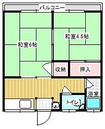 中野コーポ[202号室]の間取り