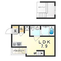 JR東海道・山陽本線 塚本駅 徒歩17分の賃貸アパート 3階1Kの間取り
