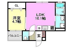阪急京都本線 南茨木駅 徒歩15分の賃貸アパート 2階1LDKの間取り