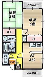 大阪府大阪市旭区高殿5丁目の賃貸マンションの間取り