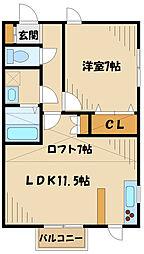 JR南武線 稲城長沼駅 徒歩12分の賃貸アパート 2階1LDKの間取り