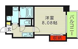 ドゥエリングASAHI 3階1Kの間取り