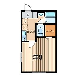 神奈川県横浜市青葉区新石川3丁目の賃貸アパートの間取り