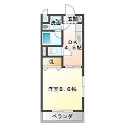 愛知県豊橋市中浜町の賃貸マンションの間取り