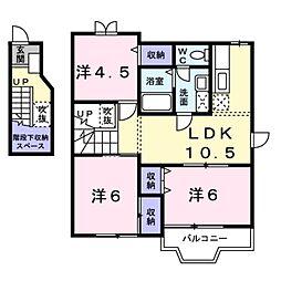 愛知県豊橋市牛川通3丁目の賃貸アパートの間取り