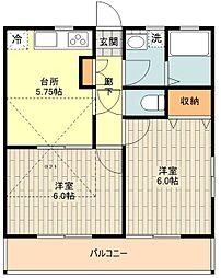 SUNS昭島 3階2DKの間取り
