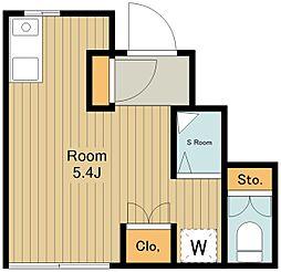 フルハウス萩山 1階ワンルームの間取り
