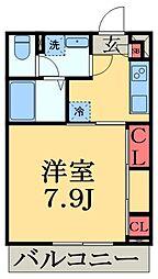 千葉県千葉市中央区稲荷町2丁目の賃貸アパートの間取り