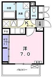 小田急小田原線 愛甲石田駅 バス21分 仲田下車 徒歩5分の賃貸アパート 1階1Kの間取り