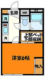 JR中央線 八王子駅 バス28分 純心女子学園下車 徒歩2分の賃貸マンション 2階1Kの間取り