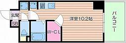 Osaka Metro御堂筋線 天王寺駅 徒歩10分の賃貸マンション 2階ワンルームの間取り