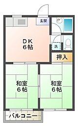 愛知県岡崎市柱5丁目の賃貸アパートの間取り