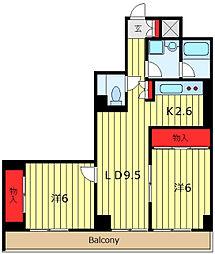 東京メトロ日比谷線 三ノ輪駅 徒歩7分の賃貸マンション 6階2LDKの間取り