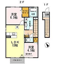 サニープレイン D[2階]の間取り