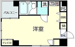 富美第一ビル 5階ワンルームの間取り