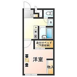 南海加太線 東松江駅 徒歩15分の賃貸アパート 2階1Kの間取り