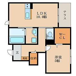 滋賀県東近江市八日市野々宮町の賃貸アパートの間取り
