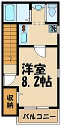 JR中央線 日野駅 徒歩12分の賃貸アパート 2階1Kの間取り
