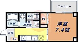Osaka Metro四つ橋線 花園町駅 徒歩6分の賃貸マンション 4階1Kの間取り