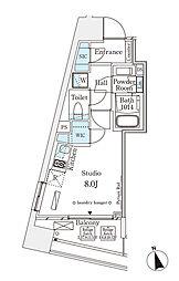 パークナードフィット南青山Vista 5階ワンルームの間取り