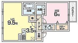エストコリーヌ1番館[2階]の間取り