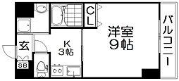 プラリア牧野阪 3階ワンルームの間取り
