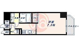 JR大阪環状線 寺田町駅 徒歩6分の賃貸マンション 2階1Kの間取り