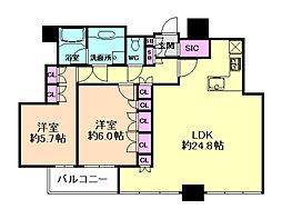 シティタワー西梅田 33階2LDKの間取り
