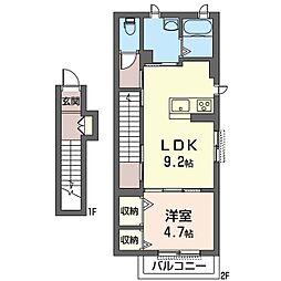 藤沢市長後シャーメゾン 2階1LDKの間取り