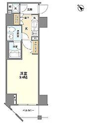 カーサスプレンディッド麻布仙台坂 9階1Kの間取り