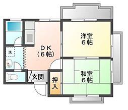 愛知県豊橋市東小浜町の賃貸マンションの間取り