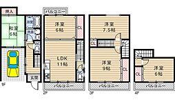[一戸建] 大阪府大阪市住吉区長峡町 の賃貸【/】の間取り