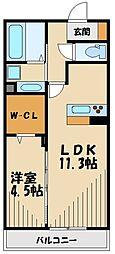 ラルゴ・エスポワールII 2階1LDKの間取り